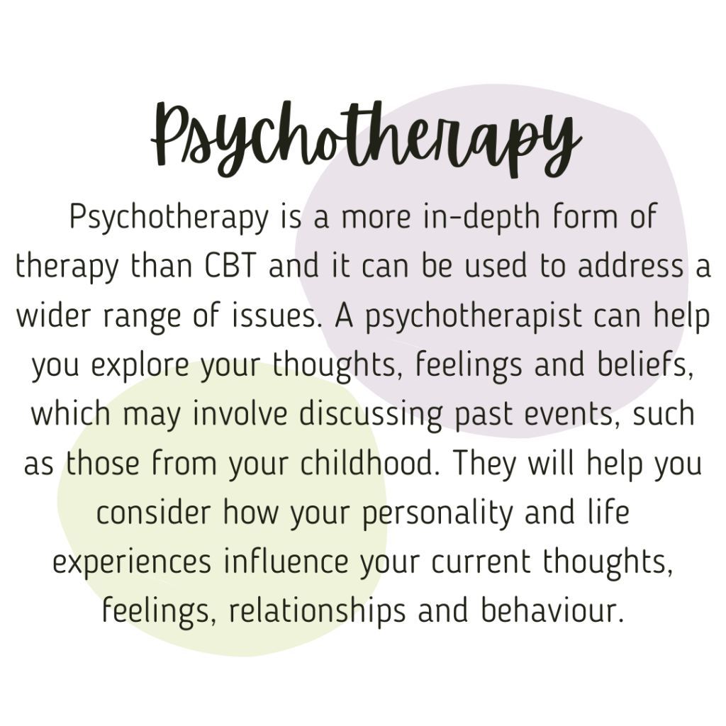 Psychotherapy is a more in-depth form of therapy than counselling, and it can be used to address a wider range of issues. A psychotherapist can help you explore your thoughts, feelings and beliefs, which may involve discussing past events, such as those from your childhood. They will help you consider how your personality and life experiences influence your current thoughts, feelings, relationships and behaviour. Source: counsellingtherapist.org.uk